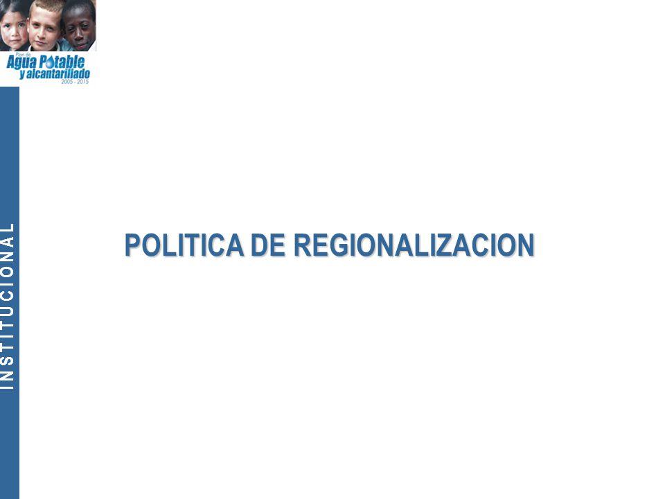 I N S T I T U C I O N A L POLITICA DE REGIONALIZACION