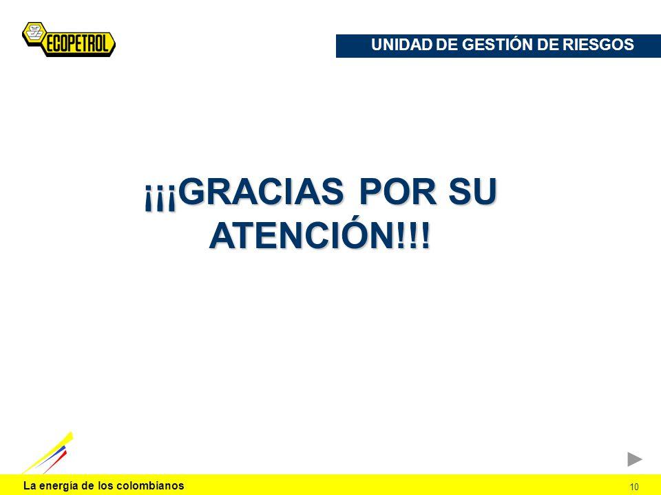 La energía de los colombianos 10 UNIDAD DE GESTIÓN DE RIESGOS ¡¡¡GRACIAS POR SU ATENCIÓN!!!