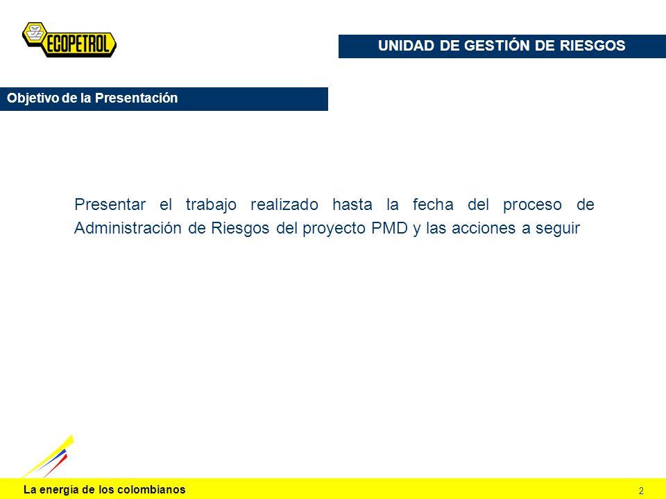 La energía de los colombianos 2 UNIDAD DE GESTIÓN DE RIESGOS Objetivo de la Presentación Presentar el trabajo realizado hasta la fecha del proceso de