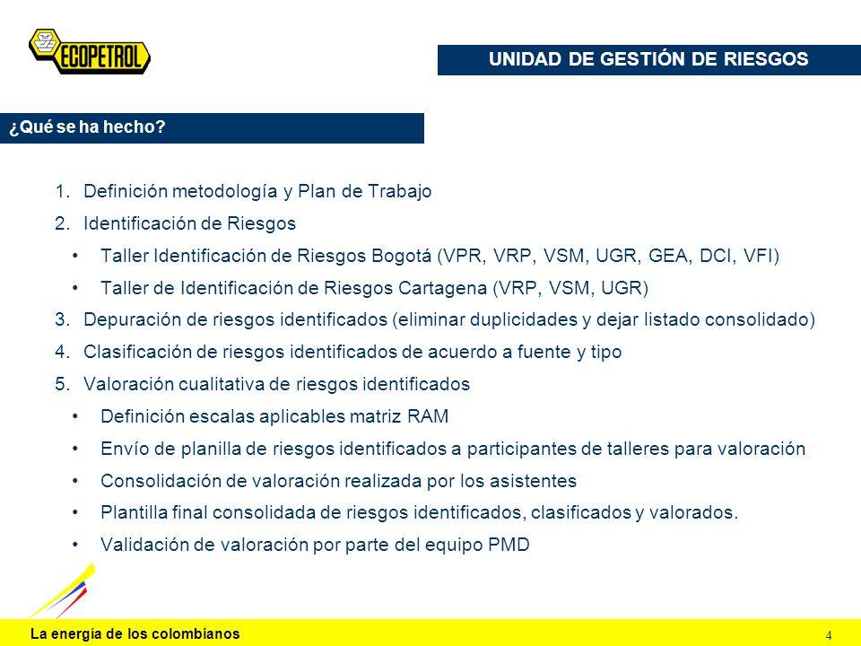 La energía de los colombianos 4 UNIDAD DE GESTIÓN DE RIESGOS ¿Qué se ha hecho? 1.Definición metodología y Plan de Trabajo 2.Identificación de Riesgos