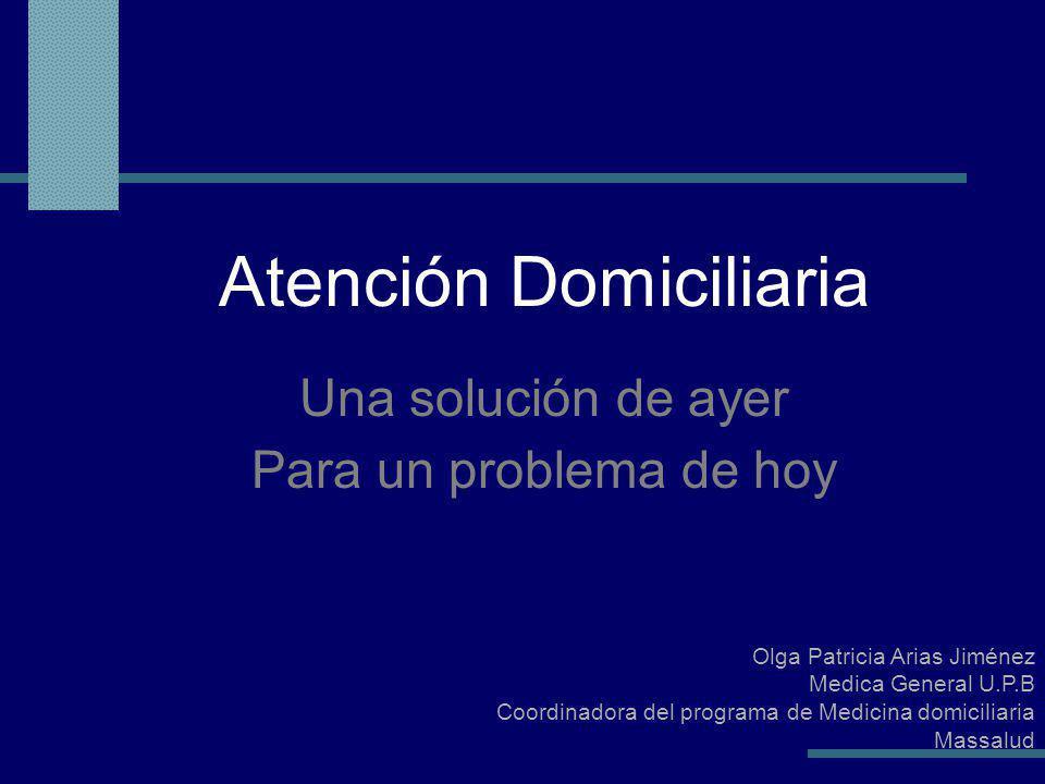 Olga Patricia Arias Jiménez Medica General U.P.B Coordinadora del programa de Medicina domiciliaria Massalud Atención Domiciliaria Una solución de ayer Para un problema de hoy