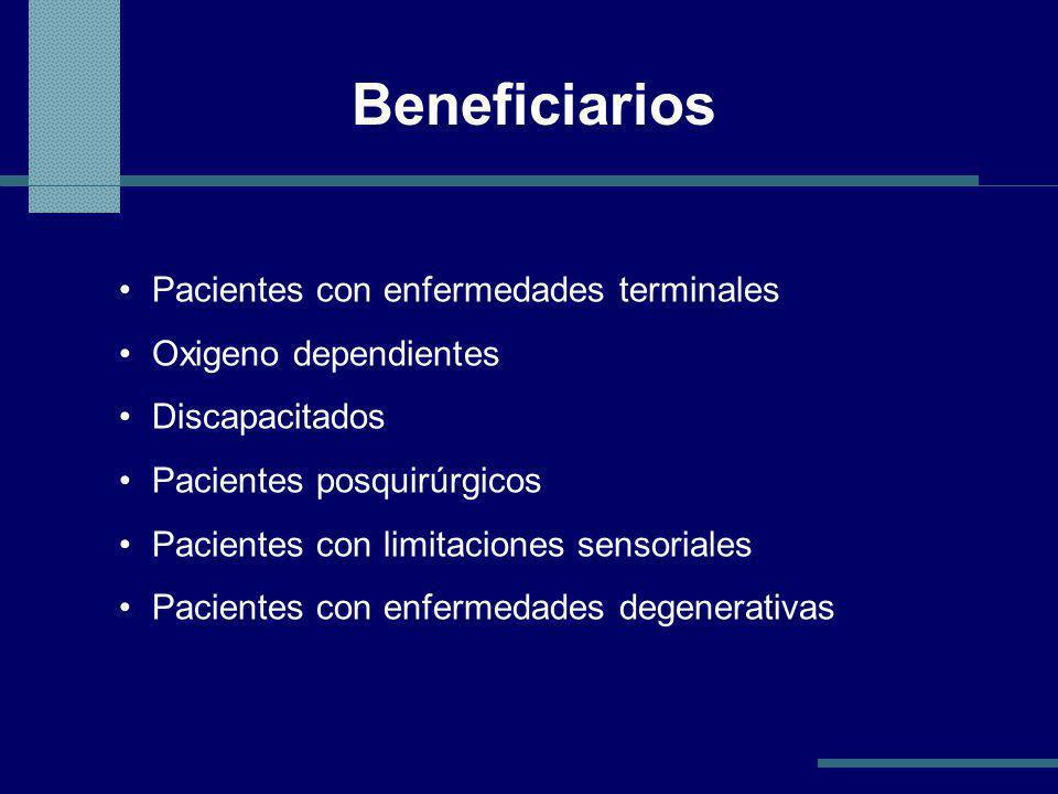 Beneficiarios Pacientes con enfermedades terminales Oxigeno dependientes Discapacitados Pacientes posquirúrgicos Pacientes con limitaciones sensoriales Pacientes con enfermedades degenerativas