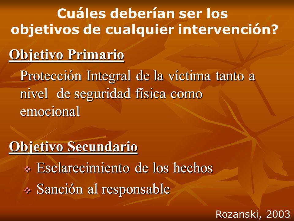 Objetivo Primario Protección Integral de la víctima tanto a nivel de seguridad física como emocional Objetivo Secundario Esclarecimiento de los hechos