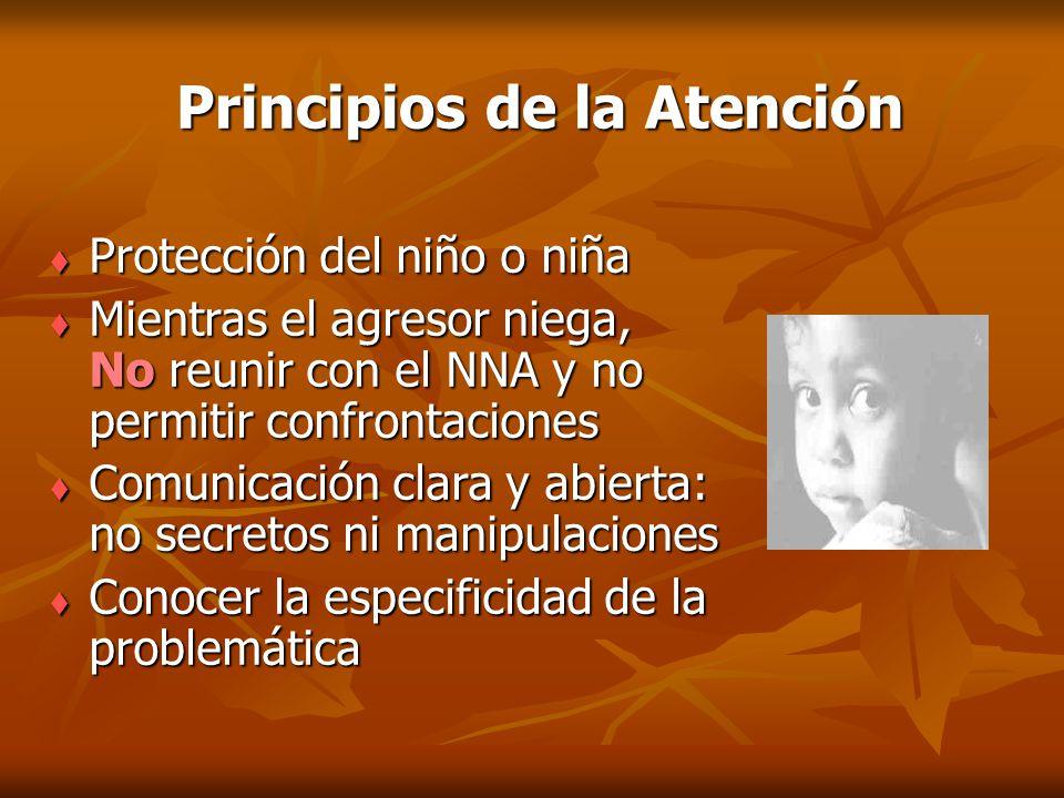 Principios de la Atención Protección del niño o niña Protección del niño o niña Mientras el agresor niega, No reunir con el NNA y no permitir confront