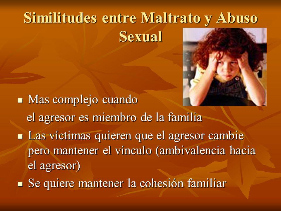 Similitudes entre Maltrato y Abuso Sexual Mas complejo cuando Mas complejo cuando el agresor es miembro de la familia el agresor es miembro de la fami