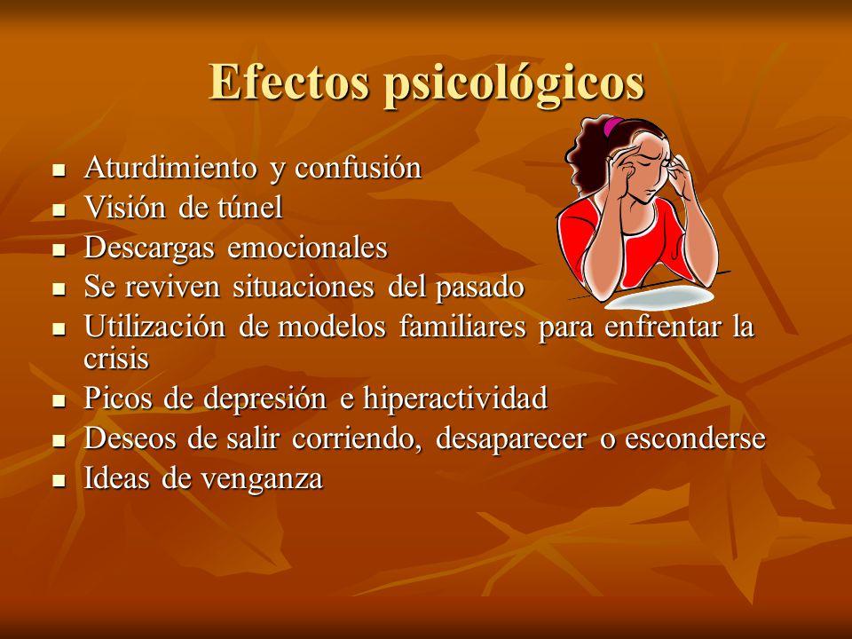 Efectos psicológicos Aturdimiento y confusión Aturdimiento y confusión Visión de túnel Visión de túnel Descargas emocionales Descargas emocionales Se