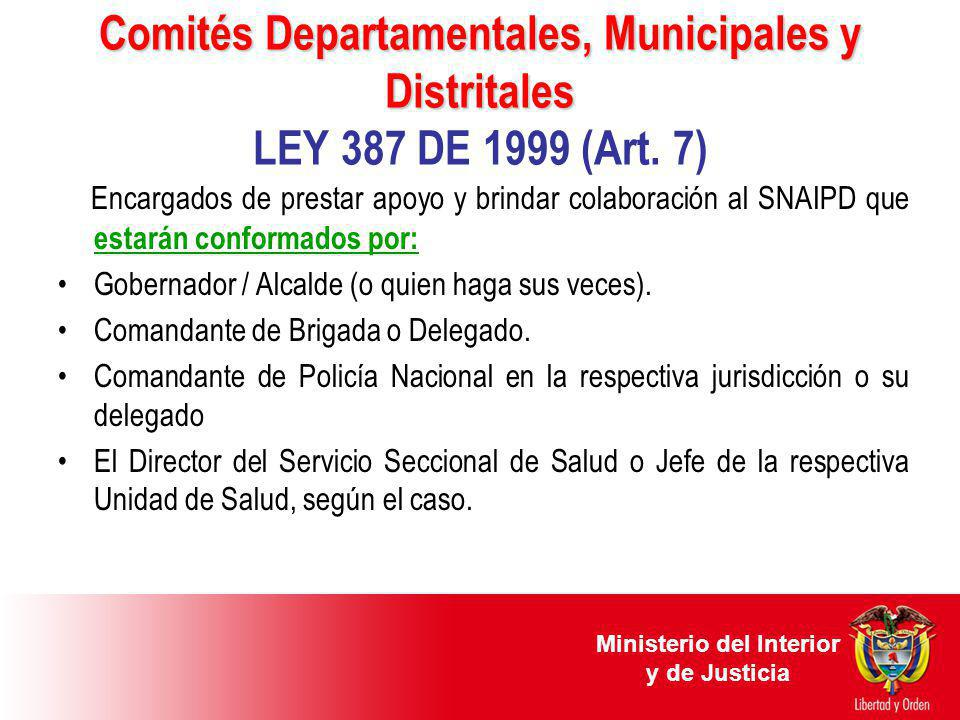 Comités Departamentales, Municipales y Distritales Comités Departamentales, Municipales y Distritales LEY 387 DE 1999 (Art. 7) Encargados de prestar a