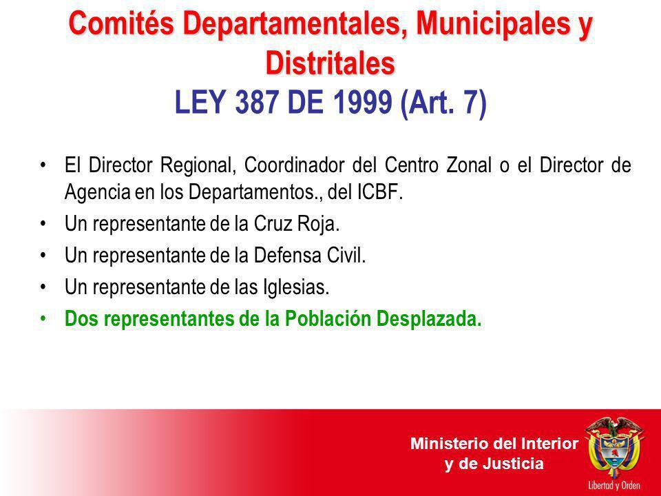 Comités Departamentales, Municipales y Distritales Comités Departamentales, Municipales y Distritales LEY 387 DE 1999 (Art. 7) El Director Regional, C