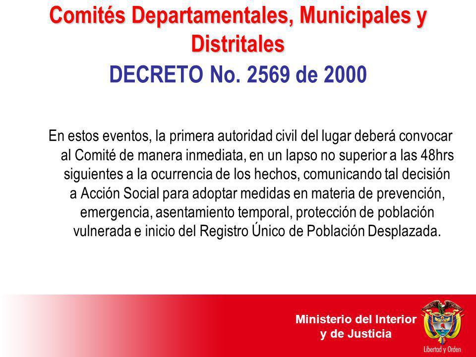 Comités Departamentales, Municipales y Distritales Comités Departamentales, Municipales y Distritales DECRETO No. 2569 de 2000 En estos eventos, la pr