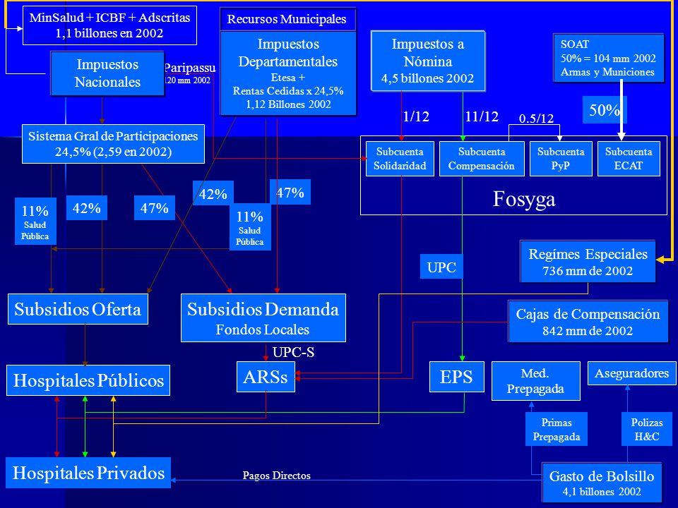 47% Sistema Gral de Participaciones 24,5% (2,59 en 2002) 47%42% 11% Salud Pública Subsidios Oferta Hospitales Públicos 42% Subsidios Demanda Fondos Lo
