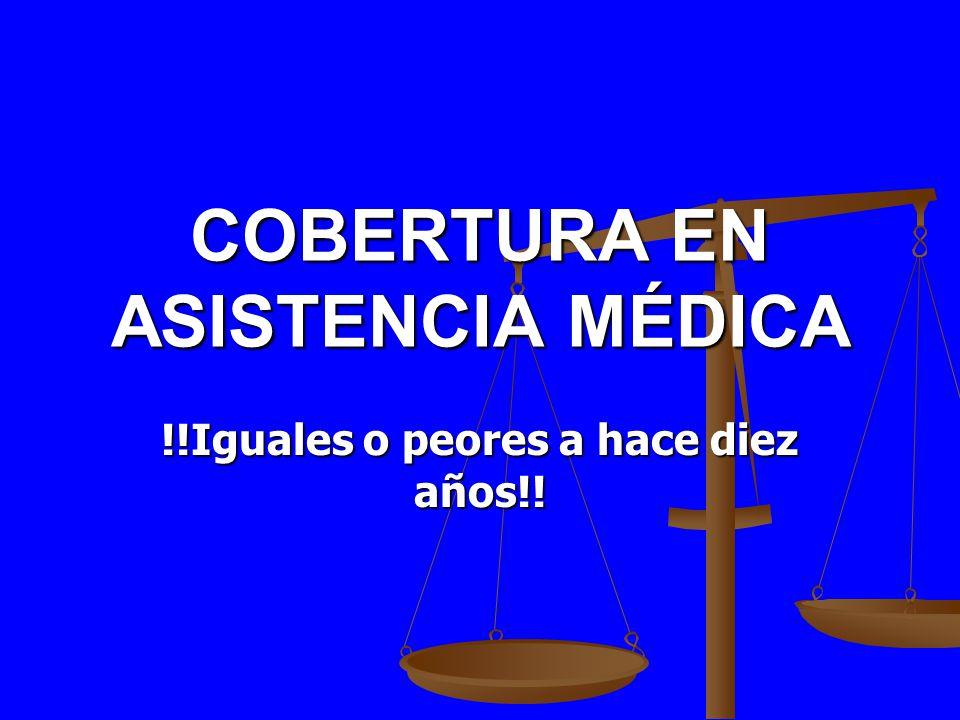 COBERTURA EN ASISTENCIA MÉDICA !!Iguales o peores a hace diez años!!
