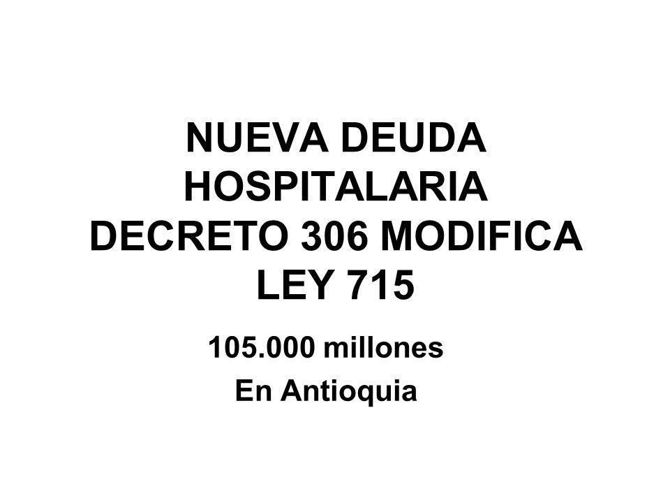 NUEVA DEUDA HOSPITALARIA DECRETO 306 MODIFICA LEY 715 105.000 millones En Antioquia