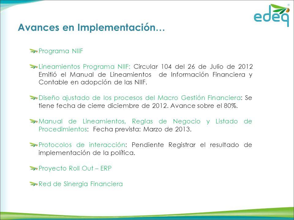 Avances en Implementación… Programa NIIF Lineamientos Programa NIIF: Circular 104 del 26 de Julio de 2012 Emitió el Manual de Lineamientos de Información Financiera y Contable en adopción de las NIIF.
