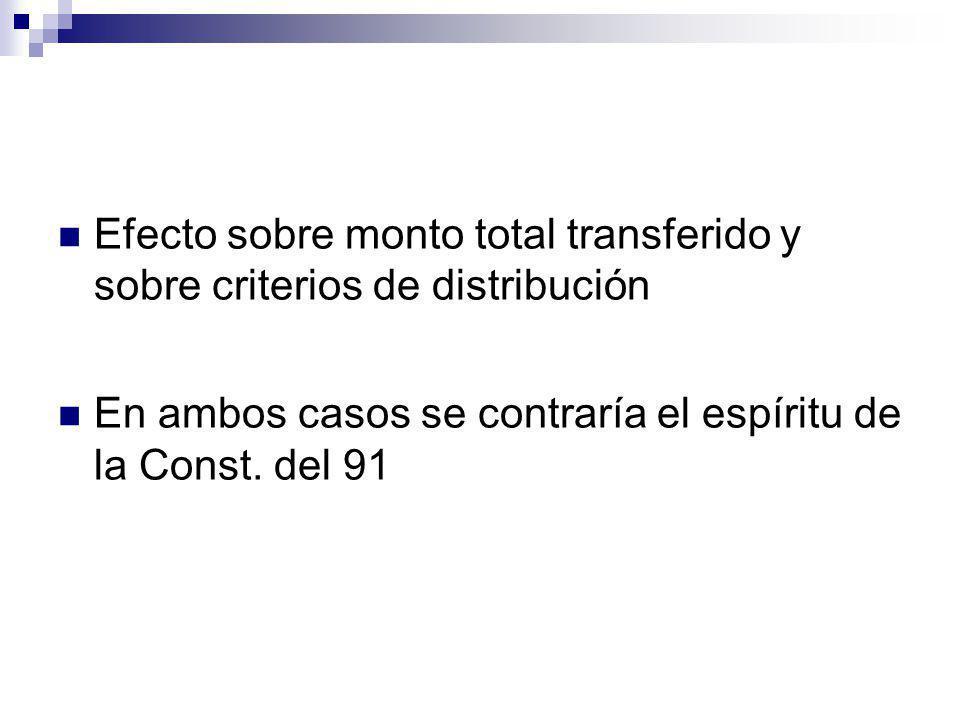 Efecto sobre monto total transferido y sobre criterios de distribución En ambos casos se contraría el espíritu de la Const. del 91