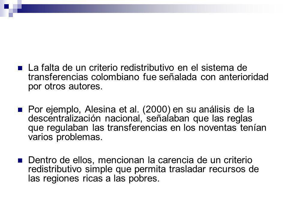 La falta de un criterio redistributivo en el sistema de transferencias colombiano fue señalada con anterioridad por otros autores. Por ejemplo, Alesin
