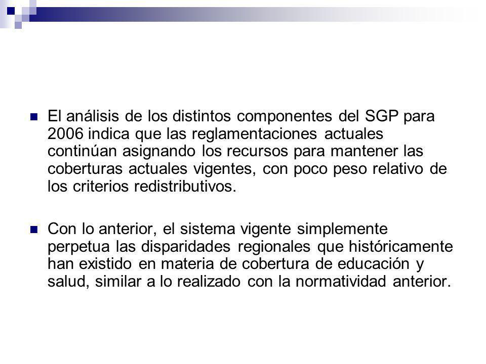 El análisis de los distintos componentes del SGP para 2006 indica que las reglamentaciones actuales continúan asignando los recursos para mantener las coberturas actuales vigentes, con poco peso relativo de los criterios redistributivos.
