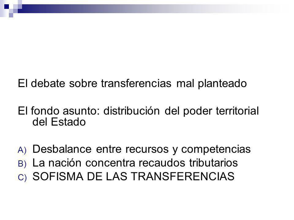 El debate sobre transferencias mal planteado El fondo asunto: distribución del poder territorial del Estado A) Desbalance entre recursos y competencia