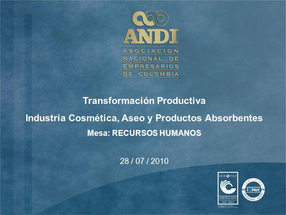 28 / 07 / 2010 Transformación Productiva Industria Cosmética, Aseo y Productos Absorbentes Mesa: RECURSOS HUMANOS