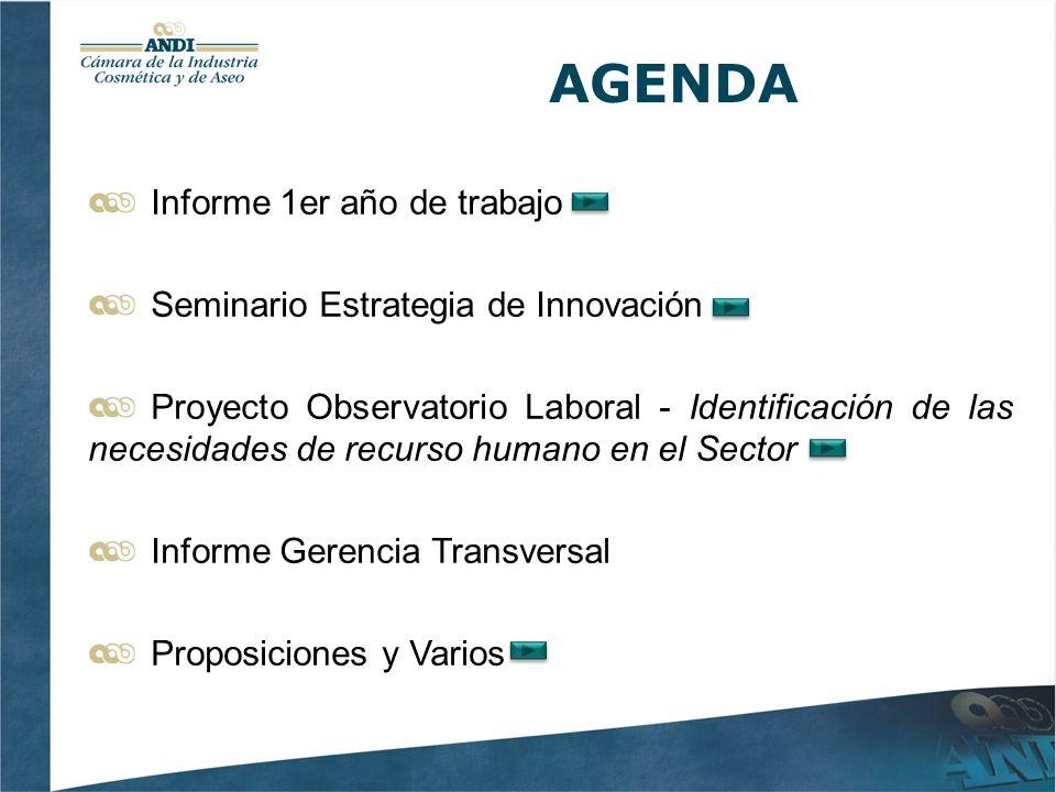 AGENDA Informe 1er año de trabajo Seminario Estrategia de Innovación Proyecto Observatorio Laboral - Identificación de las necesidades de recurso humano en el Sector Informe Gerencia Transversal Proposiciones y Varios