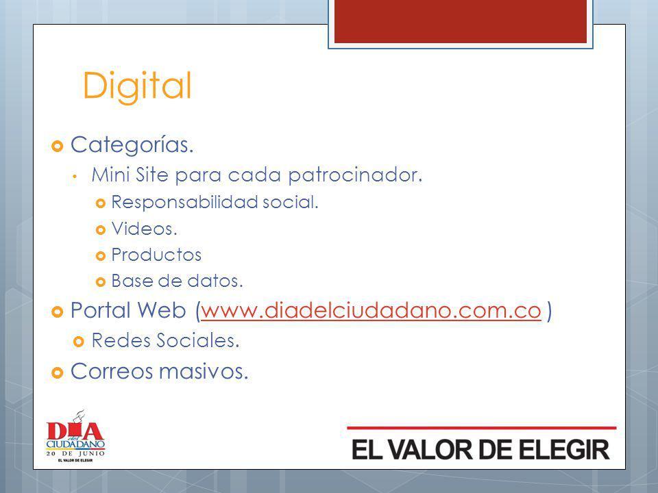 Digital Categorías.Mini Site para cada patrocinador.
