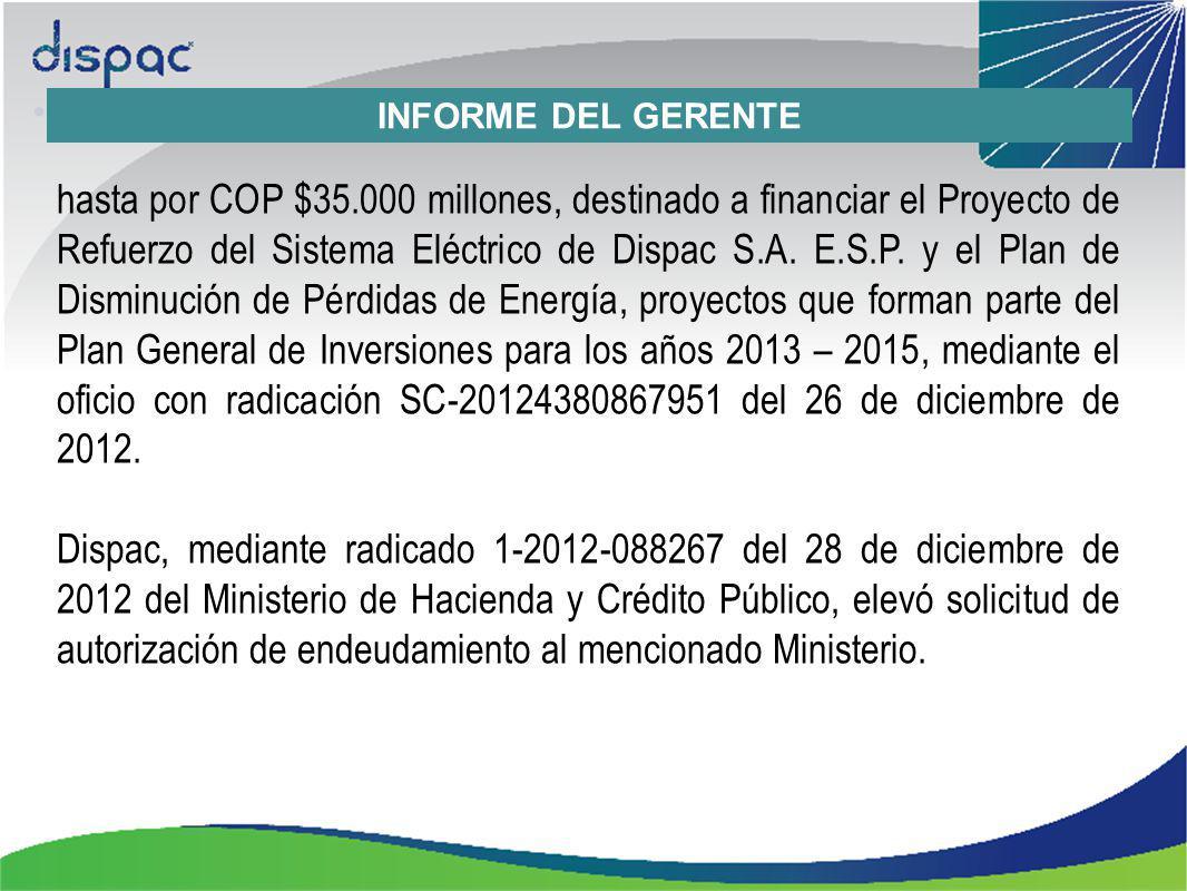 INFORME DEL GERENTE hasta por COP $35.000 millones, destinado a financiar el Proyecto de Refuerzo del Sistema Eléctrico de Dispac S.A.