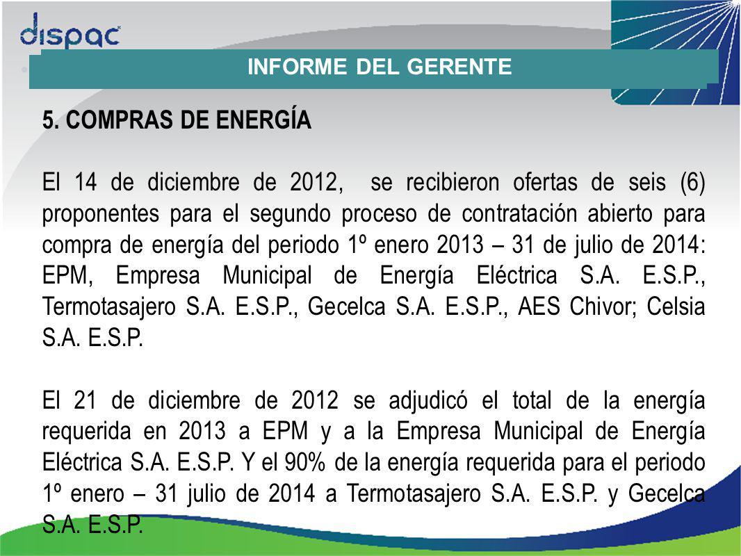 5. COMPRAS DE ENERGÍA El 14 de diciembre de 2012, se recibieron ofertas de seis (6) proponentes para el segundo proceso de contratación abierto para c