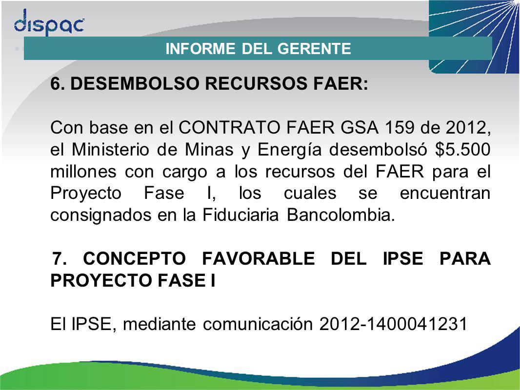 6. DESEMBOLSO RECURSOS FAER: Con base en el CONTRATO FAER GSA 159 de 2012, el Ministerio de Minas y Energía desembolsó $5.500 millones con cargo a los