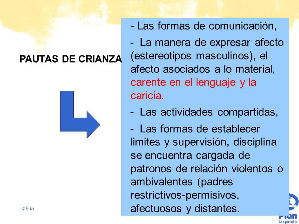 © Plan - Las formas de comunicación, - La manera de expresar afecto (estereotipos masculinos), el afecto asociados a lo material, carente en el lenguaje y la caricia.