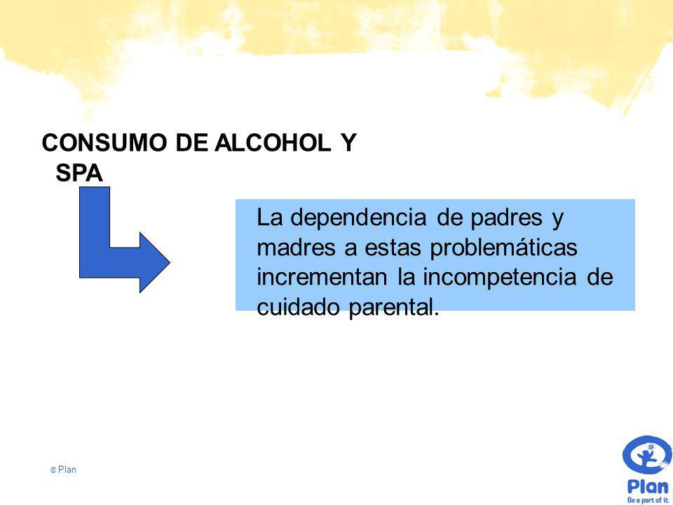 © Plan CONSUMO DE ALCOHOL Y SPA La dependencia de padres y madres a estas problemáticas incrementan la incompetencia de cuidado parental.