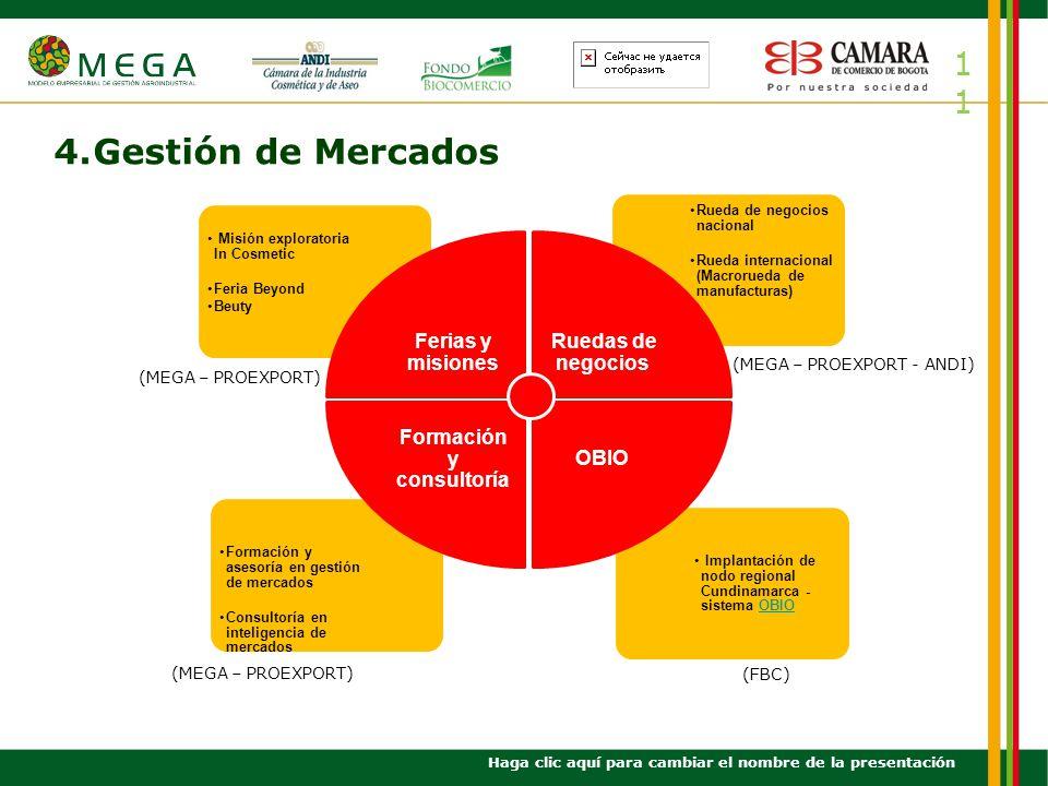 11 4.Gestión de Mercados Haga clic aquí para cambiar el nombre de la presentación Implantación de nodo regional Cundinamarca - sistema OBIOOBIO Formac