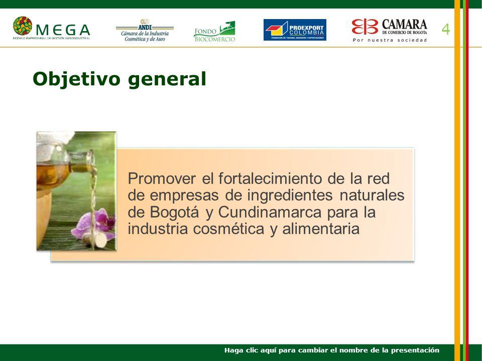 5 Objetivos específicos Haga clic aquí para cambiar el nombre de la presentación Facilitar la conformación de una red empresarial de ingredientes naturales para consolidar la oferta de especies nativas tipo exportación.