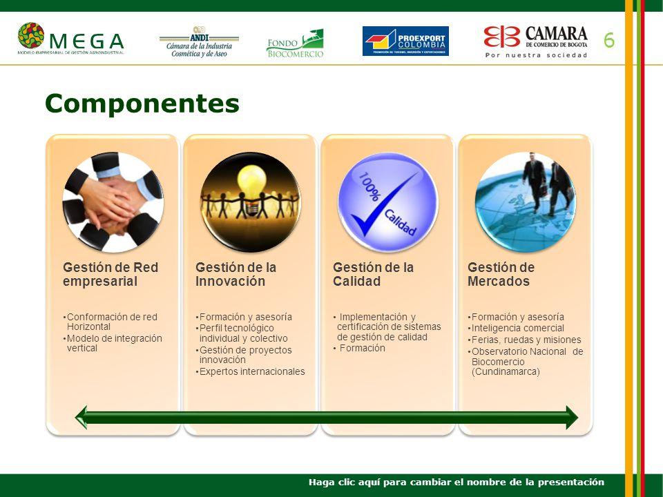 6 Componentes Haga clic aquí para cambiar el nombre de la presentación Gestión de Red empresarial Conformación de red Horizontal Modelo de integración
