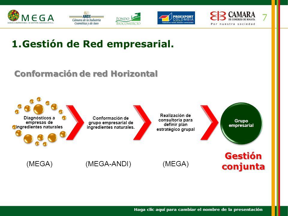 7 1.Gestión de Red empresarial. Haga clic aquí para cambiar el nombre de la presentación Diagnósticos a empresas de ingredientes naturales (MEGA) Conf