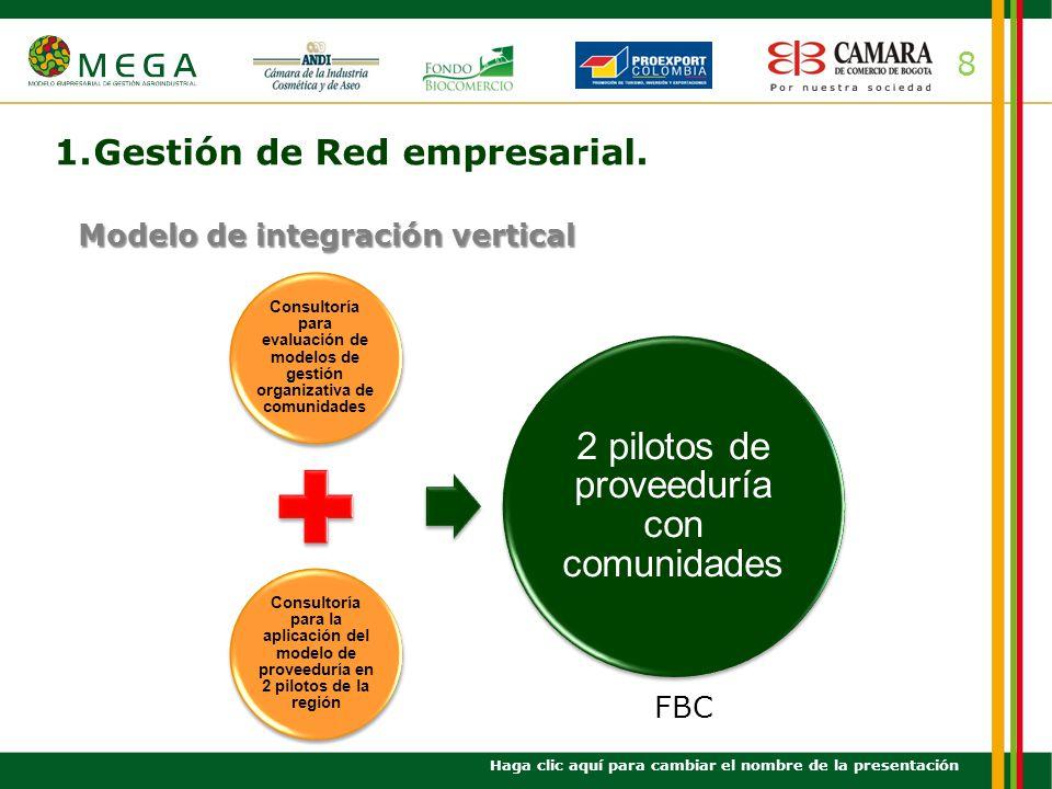 8 1.Gestión de Red empresarial. Haga clic aquí para cambiar el nombre de la presentación Modelo de integración vertical Consultoría para evaluación de