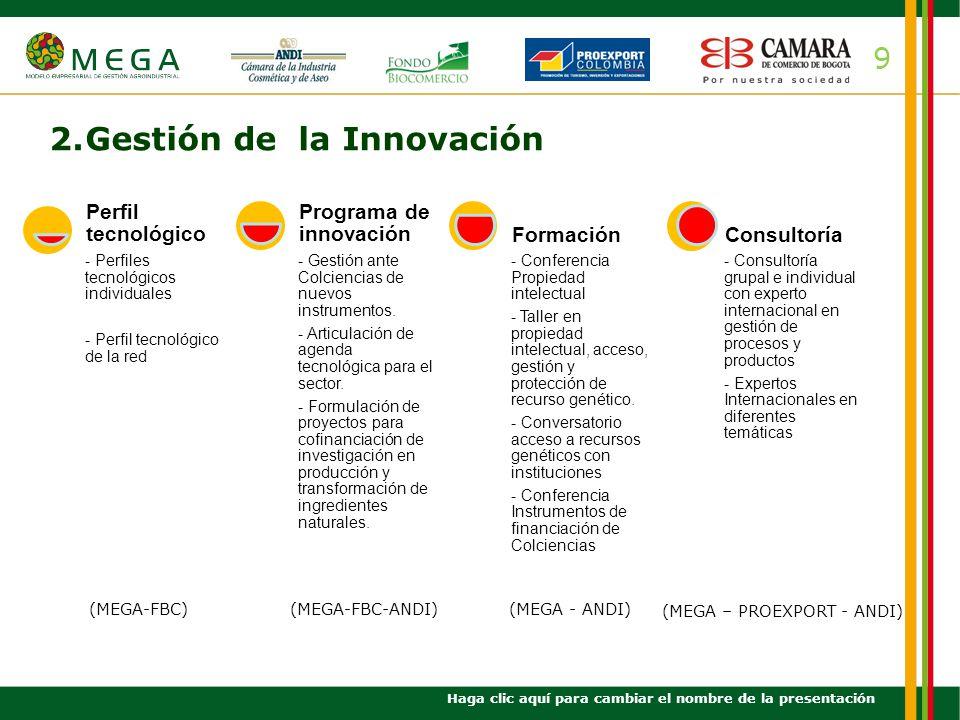 10 3.Gestión de la Calidad Haga clic aquí para cambiar el nombre de la presentación Diagnóstico calidad Implementación SGC Formación Normatividad y biodiversidad Manual medidas sanitarias y fitosanitarias para ingredientes naturales Empresas certificadas BPM Orgánico Fair trade ISO 22000 ISO 14000 UEBT (MEGA-FBC)