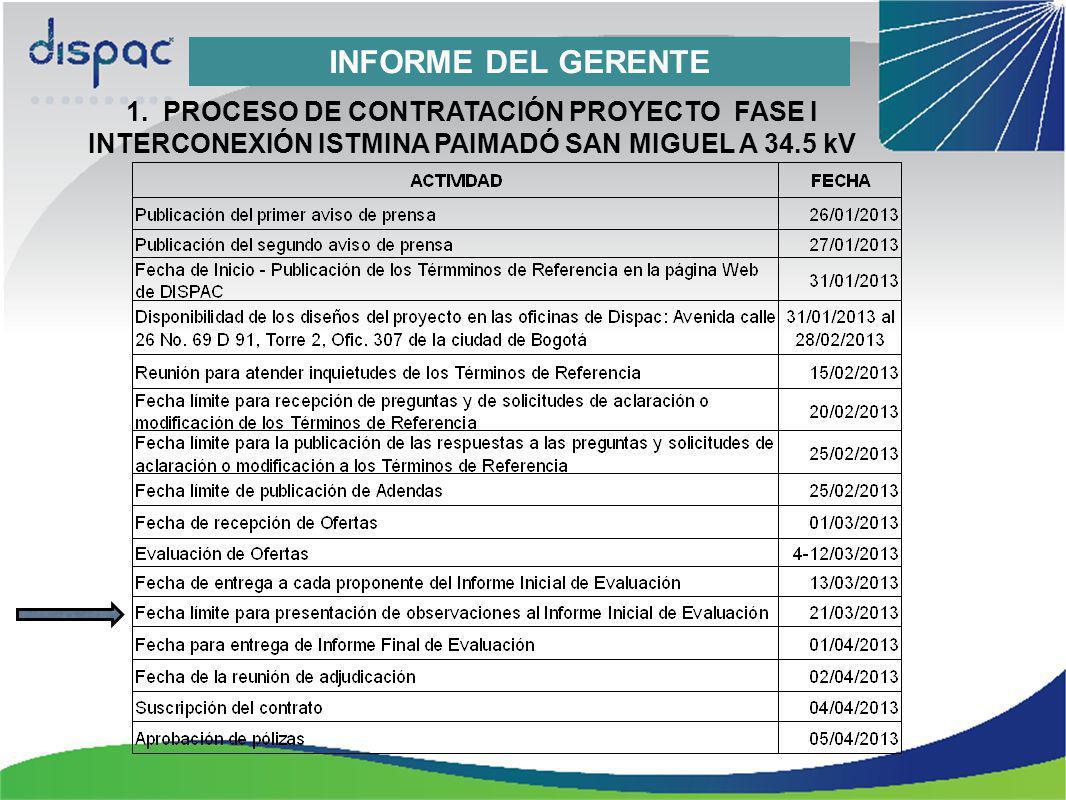INFORME DEL GERENTE 1. PROCESO DE CONTRATACIÓN PROYECTO FASE I INTERCONEXIÓN ISTMINA PAIMADÓ SAN MIGUEL A 34.5 kV