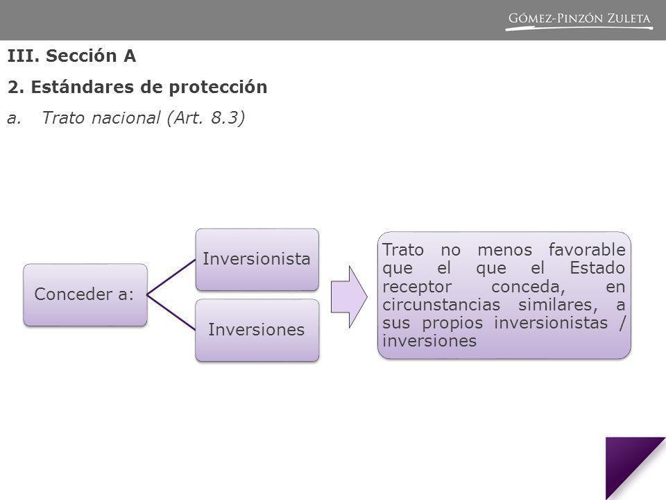 III.Sección A 2. Estándares de protección a.Trato nacional (Art.