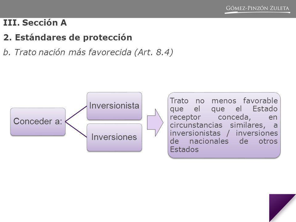 III.Sección A 2. Estándares de protección b. Trato nación más favorecida (Art.