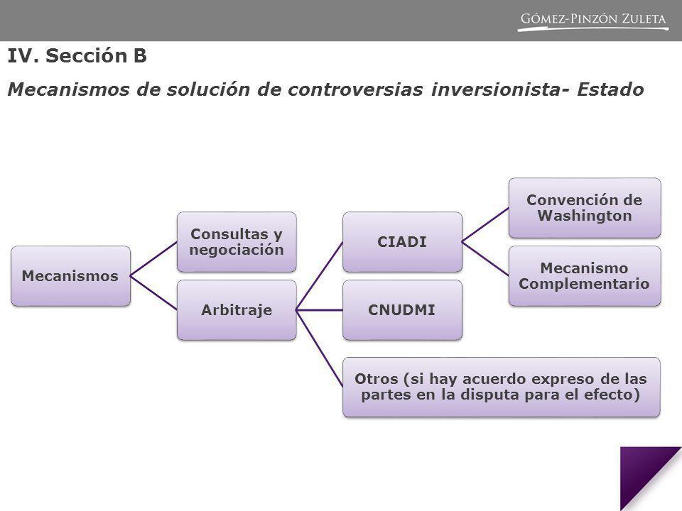 IV. Sección B Mecanismos de solución de controversias inversionista- Estado Mecanismos Consultas y negociación ArbitrajeCIADI Convención de Washington