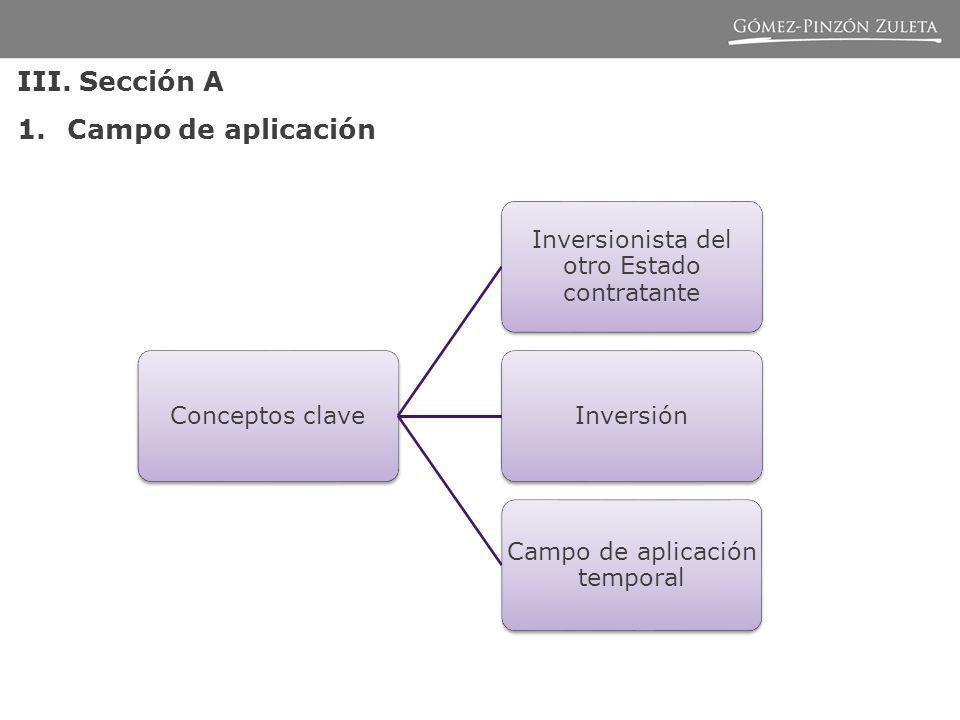 III. Sección A 1.Campo de aplicación Conceptos clave Inversionista del otro Estado contratante Inversión Campo de aplicación temporal