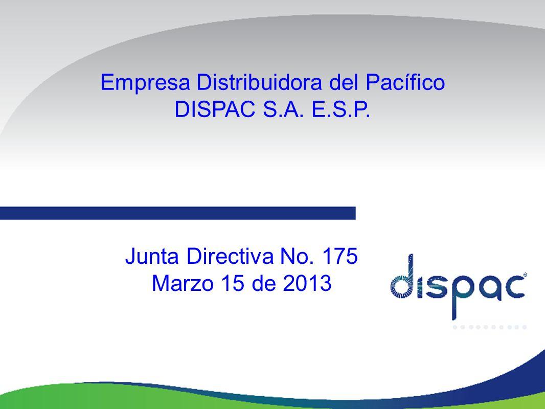 Empresa Distribuidora del Pacífico DISPAC S.A. E.S.P. Junta Directiva No. 175 Marzo 15 de 2013