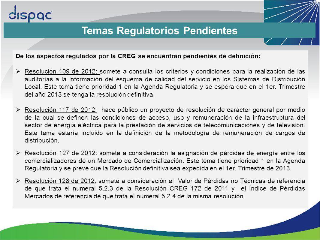 Temas Regulatorios Pendientes De los aspectos regulados por la CREG se encuentran pendientes de definición: Resolución 109 de 2012: somete a consulta