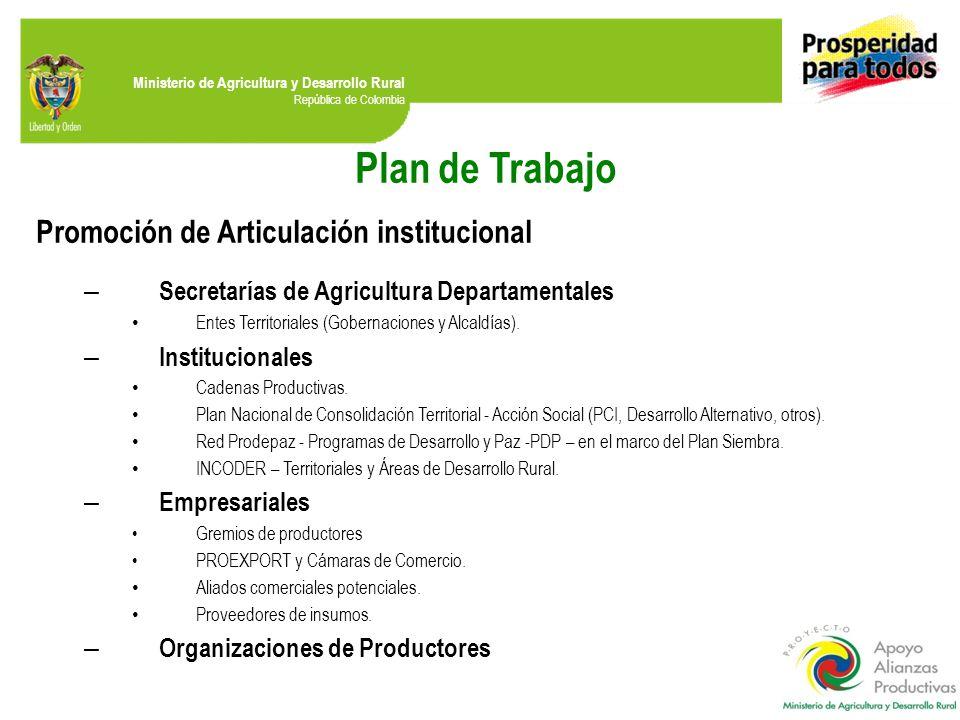 Ministerio de Agricultura y Desarrollo Rural República de Colombia Plan de Trabajo Promoción de Articulación institucional – Secretarías de Agricultura Departamentales Entes Territoriales (Gobernaciones y Alcaldías).