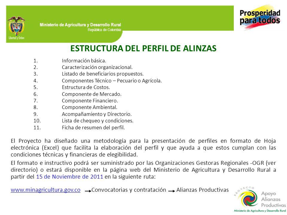 Ministerio de Agricultura y Desarrollo Rural República de Colombia ESTRUCTURA DEL PERFIL DE ALINZAS 1.Información básica. 2.Caracterización organizaci