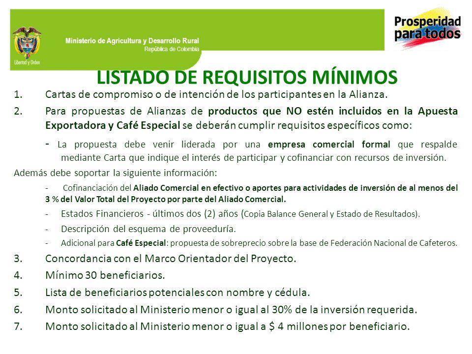 Ministerio de Agricultura y Desarrollo Rural República de Colombia LISTADO DE REQUISITOS MÍNIMOS 1.Cartas de compromiso o de intención de los participantes en la Alianza.