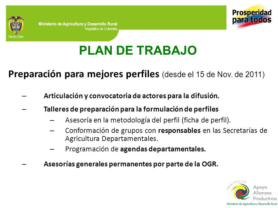 Ministerio de Agricultura y Desarrollo Rural República de Colombia PLAN DE TRABAJO Preparación para mejores perfiles (desde el 15 de Nov. de 2011) – A