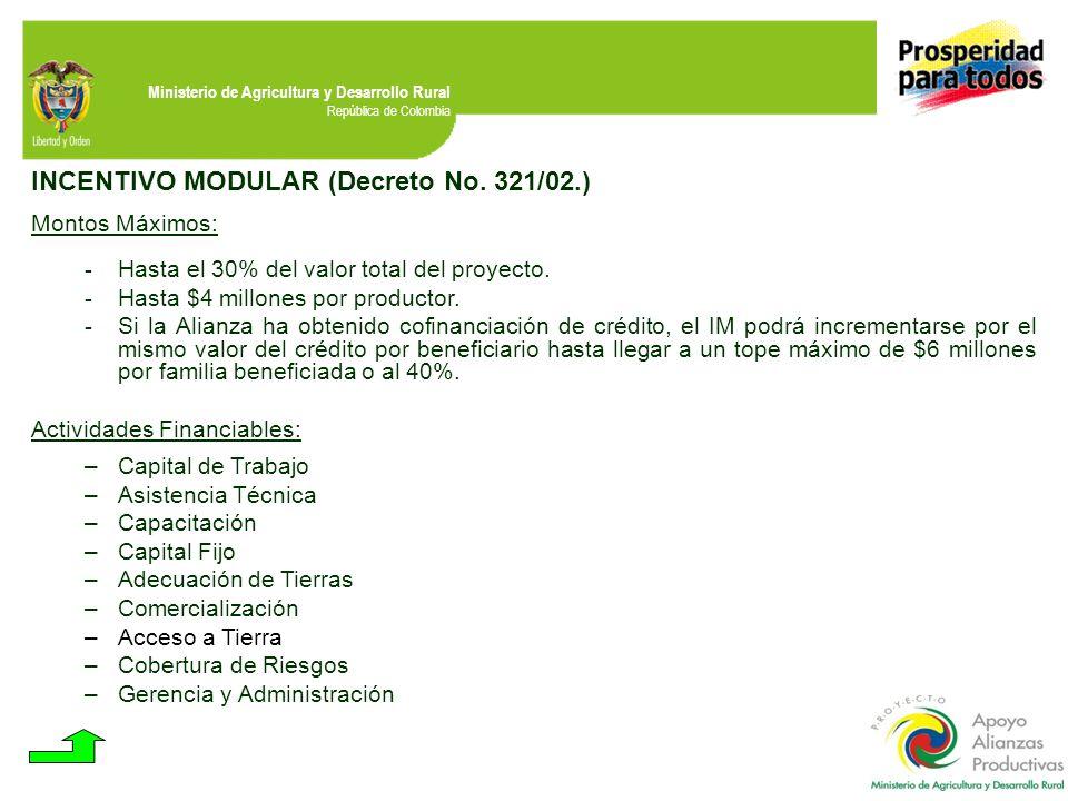 Ministerio de Agricultura y Desarrollo Rural República de Colombia INCENTIVO MODULAR (Decreto No. 321/02.) Montos Máximos: - Hasta el 30% del valor to