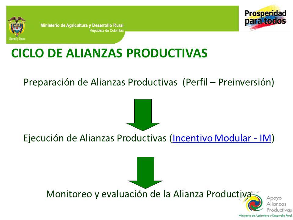 Ministerio de Agricultura y Desarrollo Rural República de Colombia CICLO DE ALIANZAS PRODUCTIVAS Preparación de Alianzas Productivas (Perfil – Preinversión) Ejecución de Alianzas Productivas (Incentivo Modular - IM)Incentivo Modular - IM Monitoreo y evaluación de la Alianza Productiva