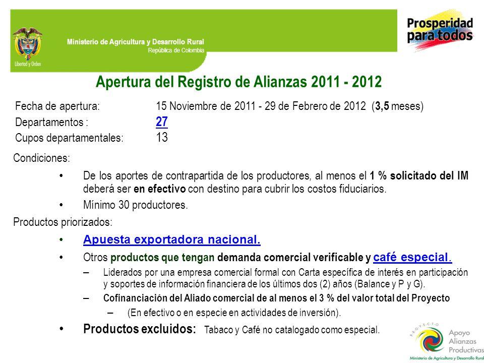 Ministerio de Agricultura y Desarrollo Rural República de Colombia Apertura del Registro de Alianzas 2011 - 2012 Fecha de apertura:15 Noviembre de 201