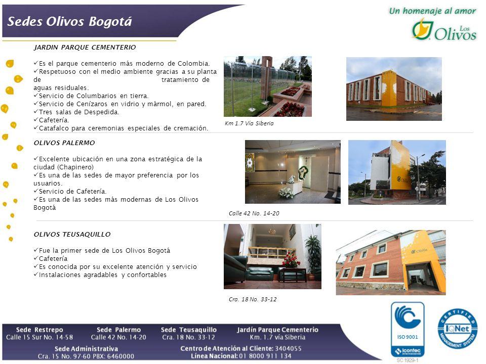 Sedes Olivos Bogotá ISO 9001 JARDIN PARQUE CEMENTERIO Es el parque cementerio más moderno de Colombia.